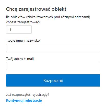 obiekt rejestracja booking extranet