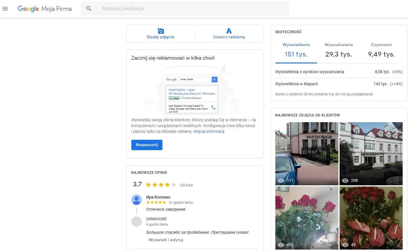 główny widok wizytówki Google