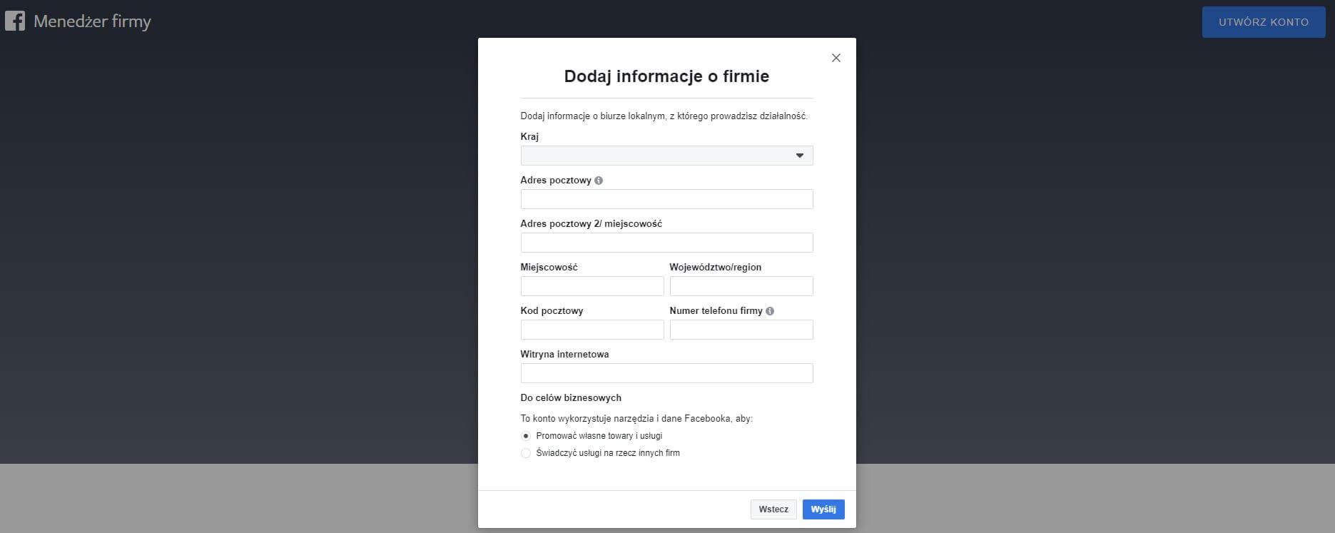 dodawanie informacji o firmie na facebooku