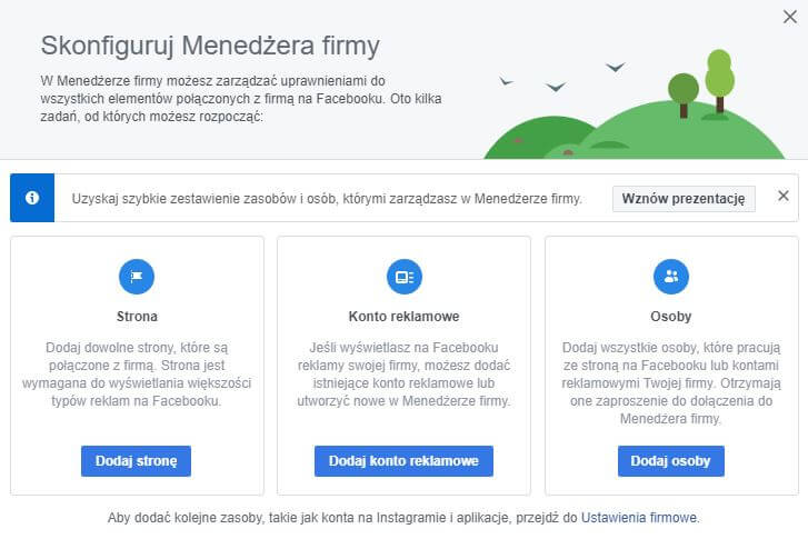 konfiguracja menedżera firmy na facebooku