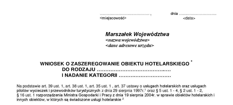 wniosek o zaszeregowanie obiektu hotelarskiego