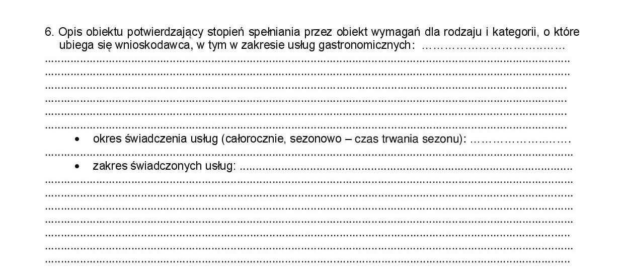 opis i stopień spełnienia wymagań dla rodzaju i kategorii