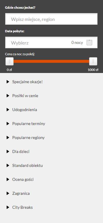 travelist.pl filtry wyszukiwania