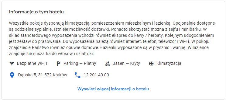krótkie informacje o hotelu