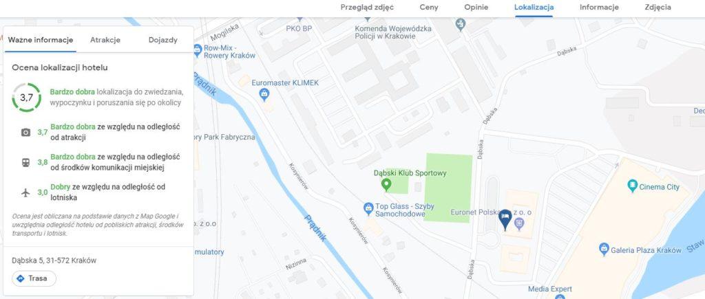 ocena lokalizacji hotelu