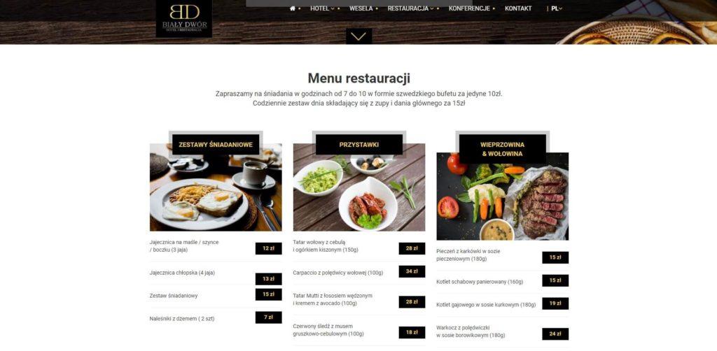 menu restauracji na stronie internetowej