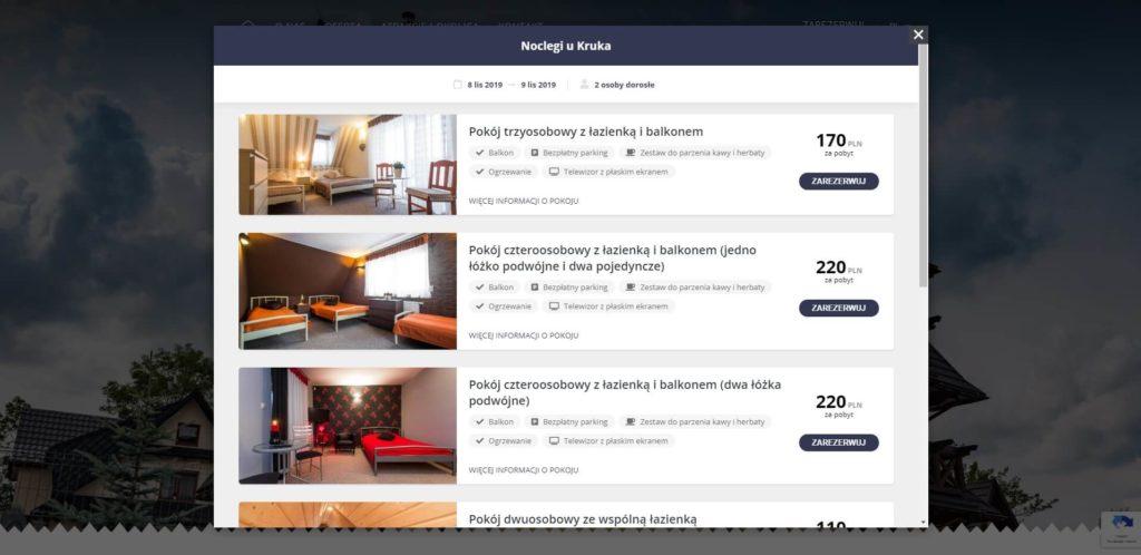witget rezerwacyjny nastronie www hotelu