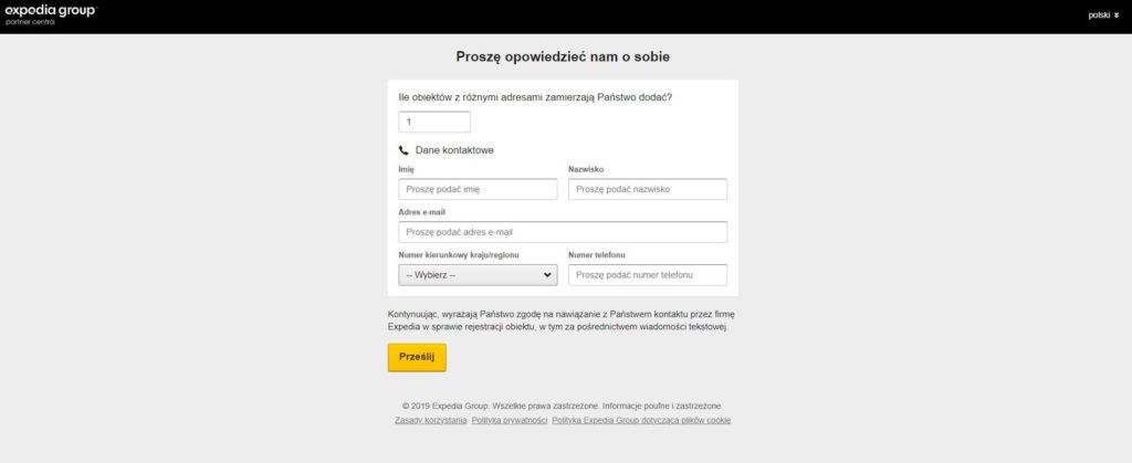 zakładanie konta na expedii dane osoby kontaktowej