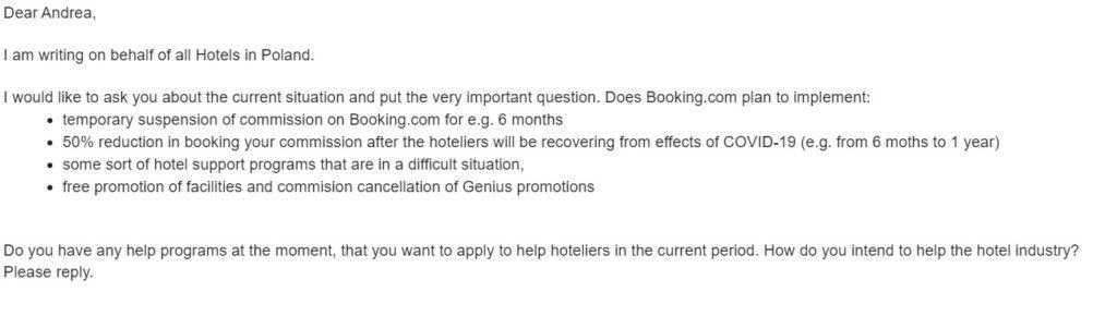 koronawirus mail do booking.com