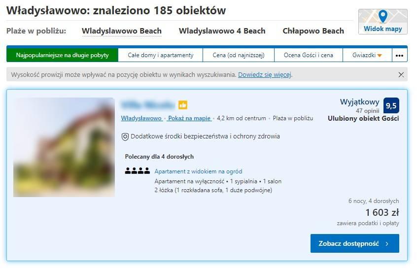 Pozycja hotelu na Booking.com
