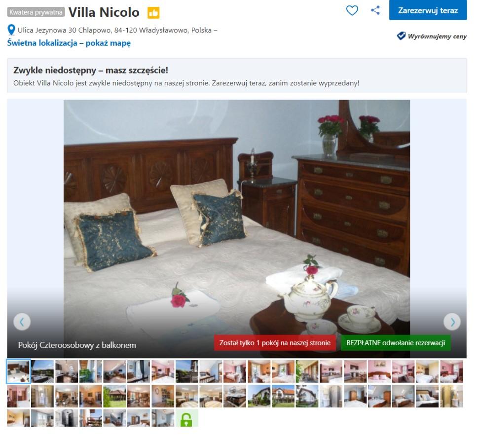 Galeria przed rozpoczęciem współpracy w Booking.com