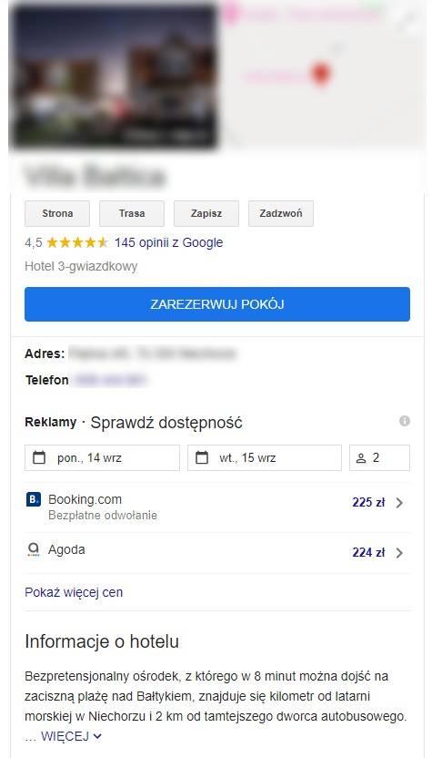 Opis hotelu w wizytówce Google My Business