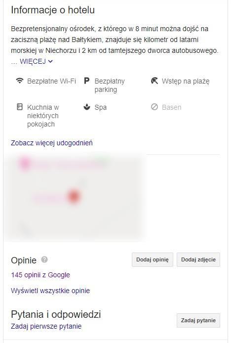 Komentarze gości w wizytówce Google My Business
