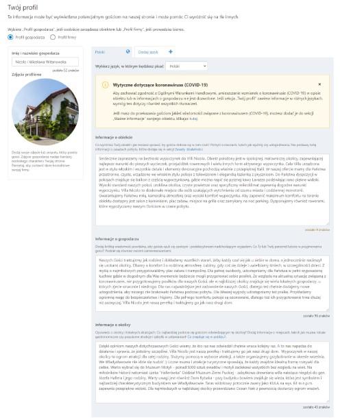 Profil gospodarza w Booking.com po