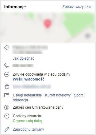 Opis hotelu na profilu Facebook