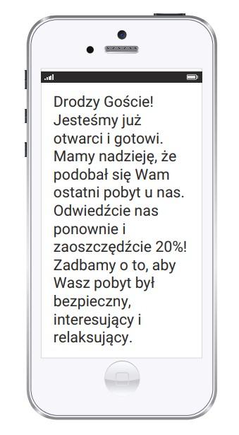 Tekst wiadomości SMS od hotelu