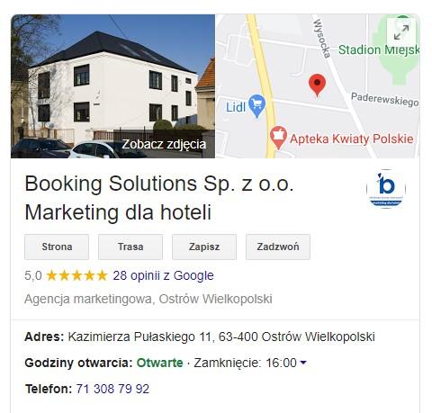 Widok wizytówki Booking Solutions
