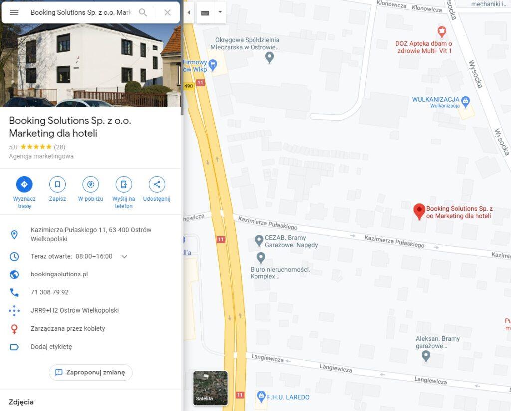 Wizytówka Booking Solutions z poziomu Map Google