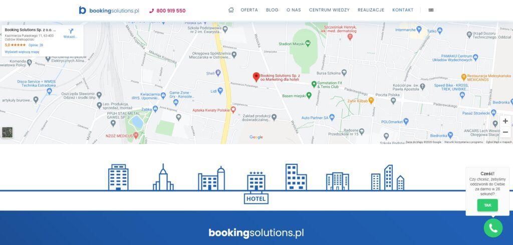 Strona internewa Booking Solutions z opcją Mapy Google