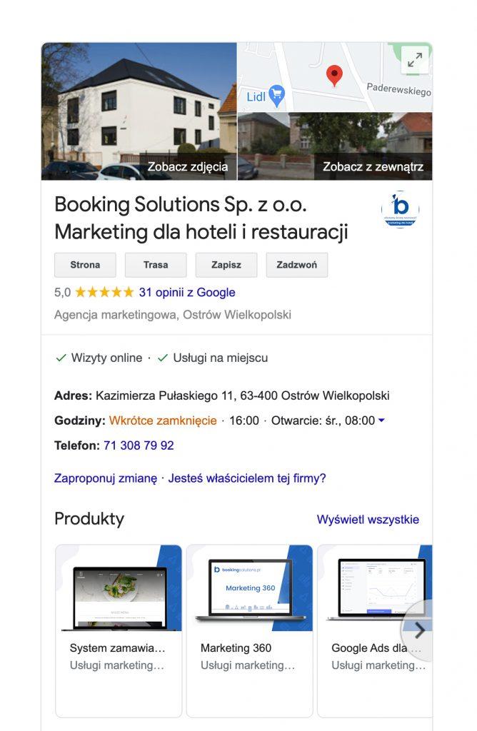 wizytówka w google