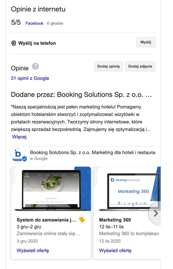 opinie w wizytówce google